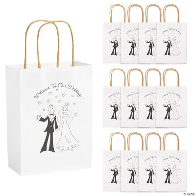 Happy Couple Kraft Paper Wedding Gift Bags - Oriental Trading