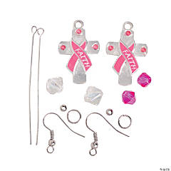 Pink Ribbon Cross Earrings Craft Kit