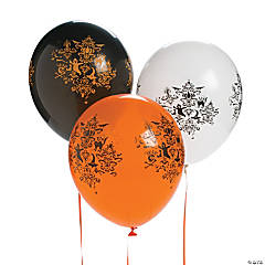 Damask Print Latex Halloween Balloons