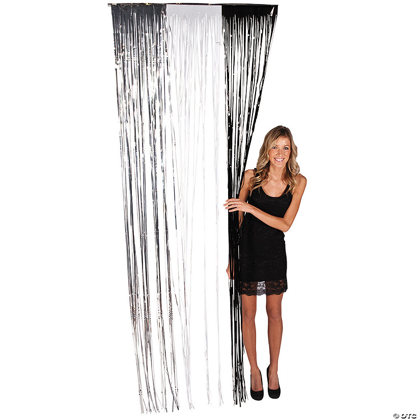 Silver White Black Plastic Fringe Door Curtain