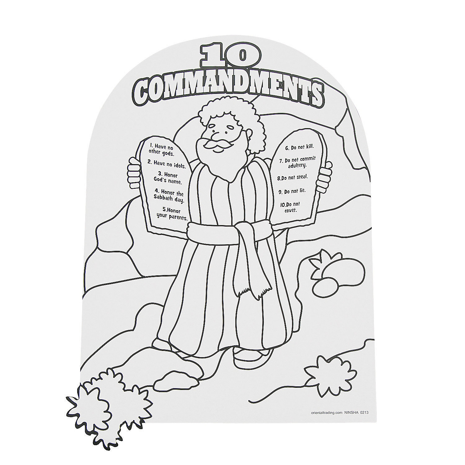 Color Your Own Moses The Ten Commandments Coloring Ten Commandments Coloring Page