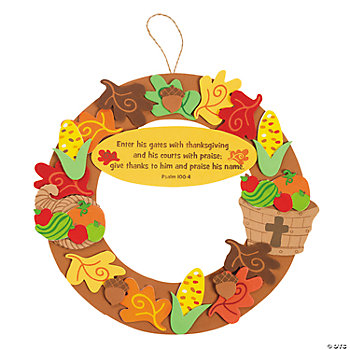 Inspirational thanksgiving wreath craft kit oriental trading for Thanksgiving crafts for kids church