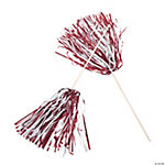 Maroon & White Two-Tone Spirit Pom-Poms