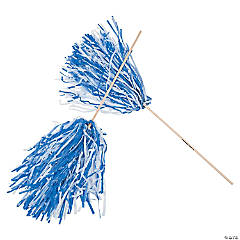 Blue & White Two-Tone Spirit Pom-Poms