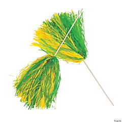 Green & Gold Two-Tone Spirit Pom-Poms