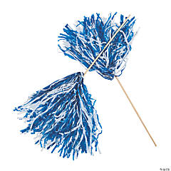 Royal Blue & White Two-Tone Spirit Pom-Poms