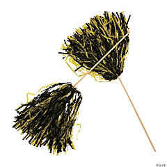Black & Gold Two-Tone Spirit Pom-Poms