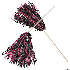 Hot Pink & Black Two-Tone Spirit Pom-Poms