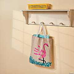 DIY Flamingo Handprint Tote Bag Idea