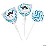 Personalized Moustache Blue Swirl Pops
