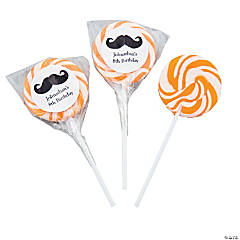 Personalized Moustache Bright Orange Swirl Pops