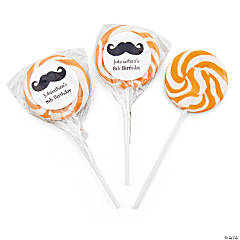 Personalized Moustache Gold Swirl Pops