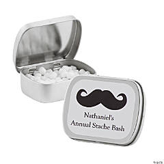 Personalized Silver Moustache Mint Tins