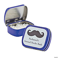 Personalized Purple Moustache Mint Tins