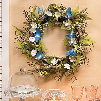 Butterfly Wreath, Candle & Domed Plate