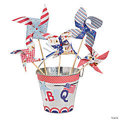 Patriotic Pinwheels in Bucket Idea