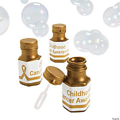 Personalized Mini Metallic Gold Awareness Ribbon Bubble Bottles
