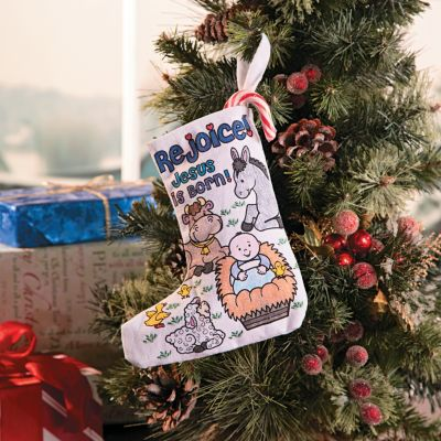 Color a Jesus is Born Christmas stocking craft