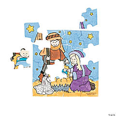 Color Your Own Nativity Mini Puzzles
