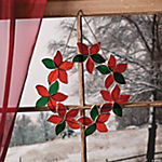 Stained Glass Poinsettia Wreath