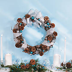 Silver & Blue Pinecone Wreath