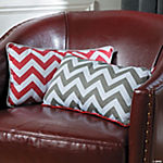Red and Grey Chevron Pillows