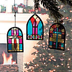 Stained Glass Church Window Christmas Ornaments