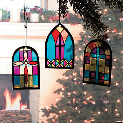 Stained glass church window christmas ornaments ornaments for Christmas window decorations clearance