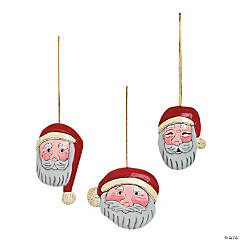 Wood Carved Santa Christmas Ornaments