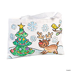 Color Your Own Christmas Tote Bags
