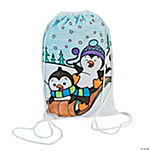 Color Your Own Winter Drawstring Bags
