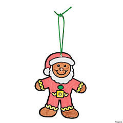 Color Your Own Fuzzy Gingerbread Santa Ornaments