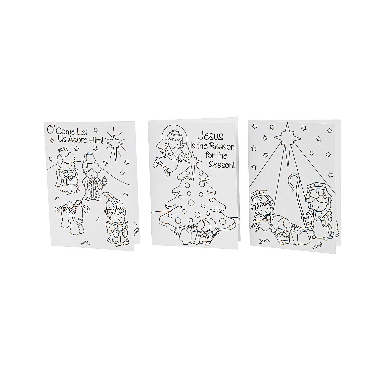 Color Your Own Religious Christmas Cards, Coloring Crafts