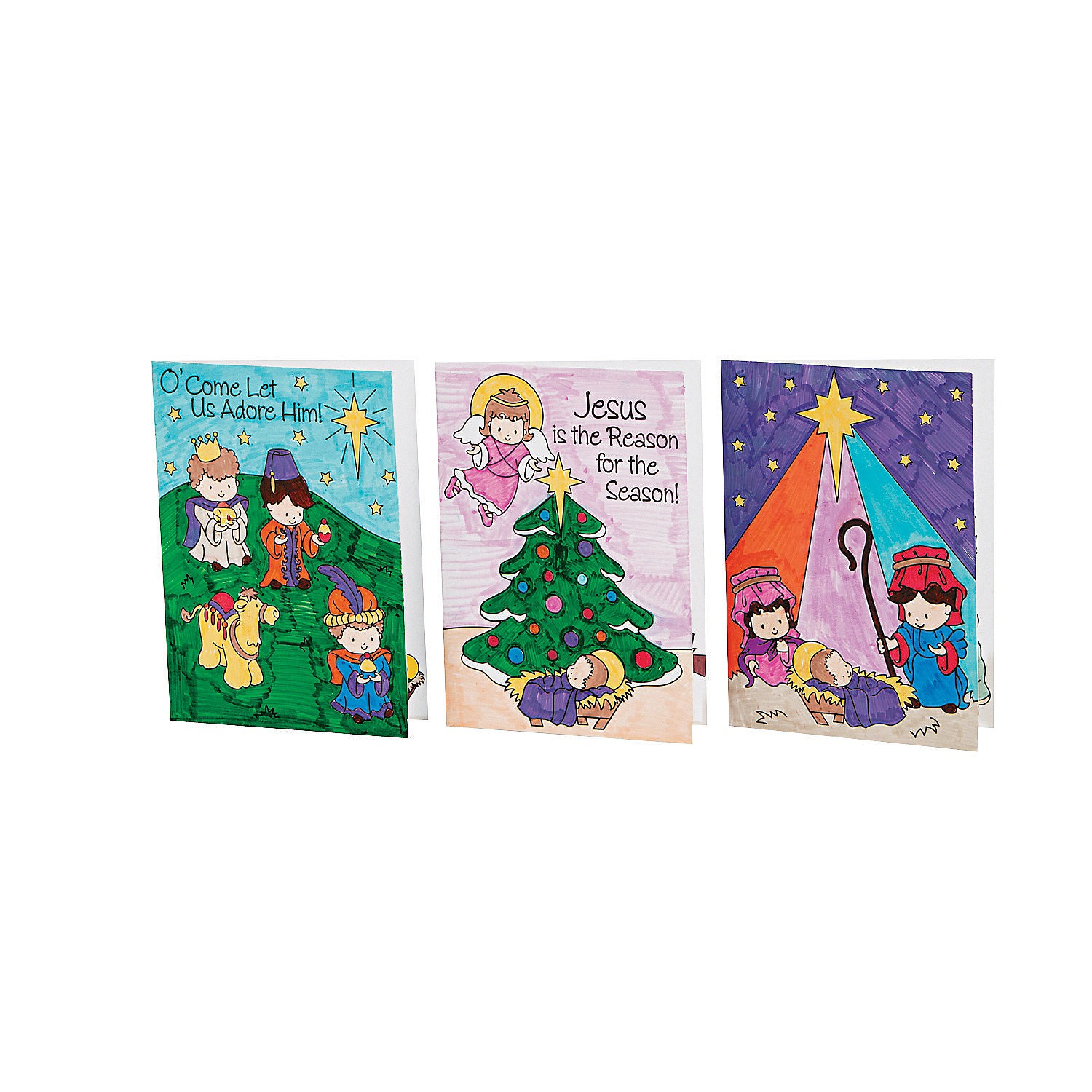 Color Your Own Religious Christmas Ornaments: Color Your Own Religious Christmas Cards, Coloring Crafts