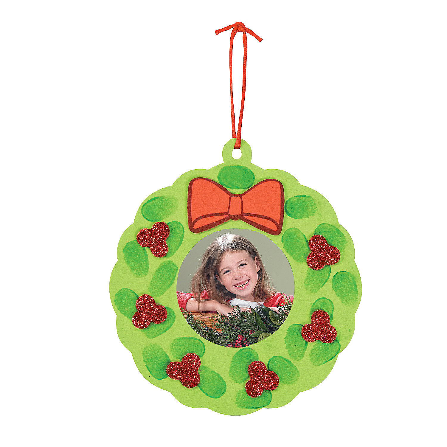 thumbprint wreath picture frame christmas ornament craft On photo frame ornament craft