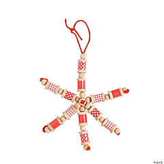 Red & White Spool Snowflake Christmas Craft Kit