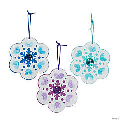 Paper Thumbprint Snowflake Christmas Ornament Craft Kit