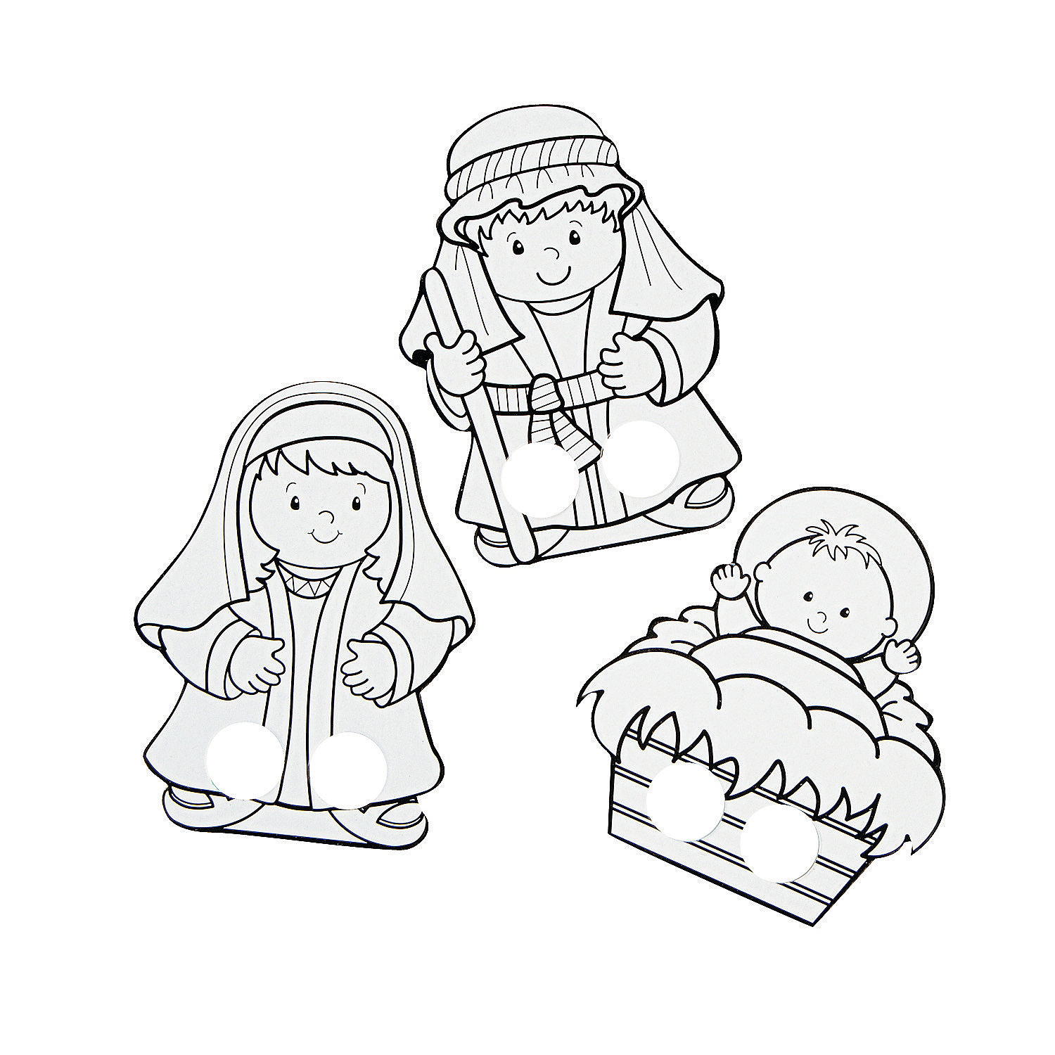 Color Your Own Nativity Finger Puppets, Coloring Crafts