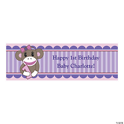 Personalized Small 1st Birthday Miss Sock Monkey Banner