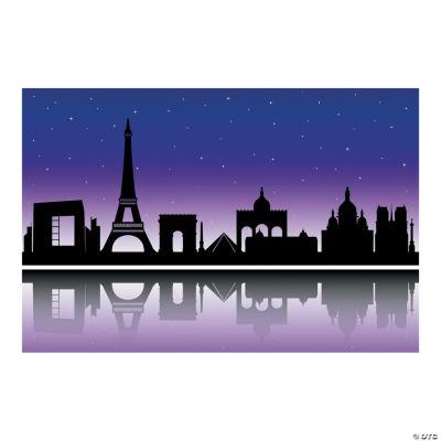City of Paris Silhouette Backdrop Banner