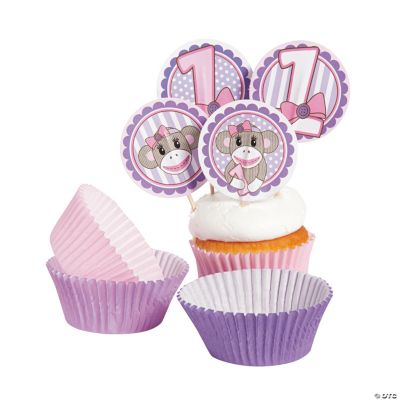 Miss Sock Monkey Baking Cups with Picks