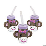 Miss Sock Monkey Molded Cups