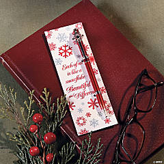 Red & White Snowflake Pen & Bookmark Sets