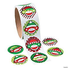 Christmas Sock Monkey Roll of Stickers