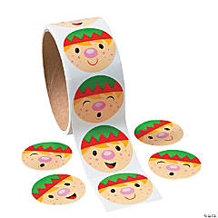 Elf Face Roll of Stickers