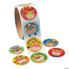 Reindeer Face Roll of Stickers