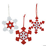 Red & White Snowflake Christmas Ornament Craft Kit