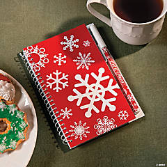 Red & White Snowflake Spiral Notepad & Pen Sets