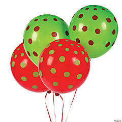Red & Green Polka Dot Latex Balloons