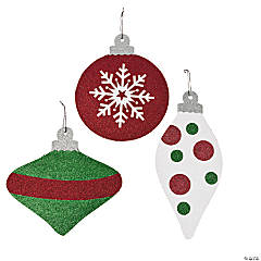 Large Glittered Hanging Christmas Ornaments